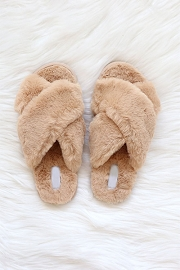 X Cross Band Cozy Fur Slippers Slides-Camel Brown