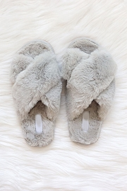X Cross Band Cozy Fur Slippers Slides-Grey