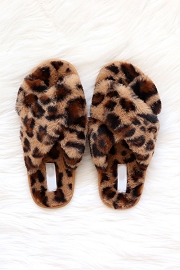 X Cross Band Cozy Fur Slippers Slides-Leopard Print