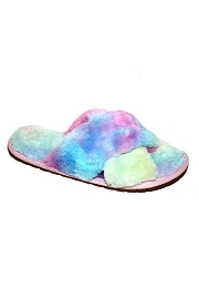 X Cross Band Cozy Fur Slippers Slides-Tie Dye