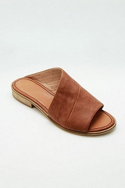 Faux Leather Slip On Open Toe Side Cutout Sandals-Cognac Brown