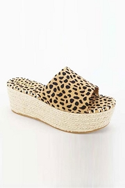 High Platform Espadrille Wedge Sandals-Cheetah Leopard Print