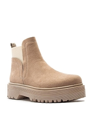 Elastic Chelsea Ankle Boots with Lug Sole-Taupe