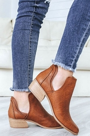 Faux Leather Ankle Slit Side Cutout Closed Toe Booties-Cognac Brown