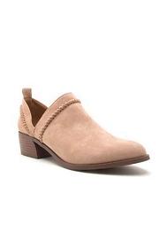 Boho Trim Faux Suede Booties with Low Heel-Taupe