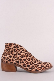 Front Cut Short Closed Toe Booties with Low Heel-Leopard Print
