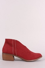 Front Cut Short Closed Toe Booties with Low Heel-Red