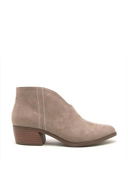 Front Cut Short Closed Toe Booties with Low Heel-Taupe
