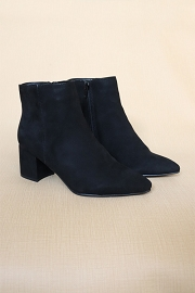 Faux Suede Closed Pointy Toe Block Heel Ankle Booties-Black