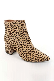 Faux Suede Closed Pointy Toe Block Heel Ankle Booties-Cheetah Leopard Print