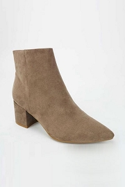 Faux Suede Closed Pointy Toe Block Heel Ankle Booties-Taupe