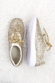 BLACK FRIDAY FLASH DEAL! ENDS SOON Lace Up Glitter Bomb Sneakers Shoes-Gold - (LIMITED TIME SALE!)