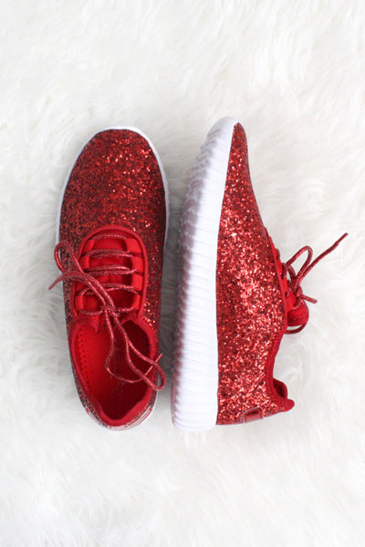 Lace Up Glitter Bomb Sneakers Shoes-Red
