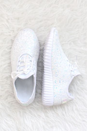 Lace Up Glitter Bomb Sneakers-White - (LIMITED TIME SALE!)