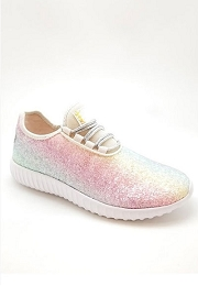 Lace Up Glitter Bomb Sneakers Shoes-Rainbow Pink