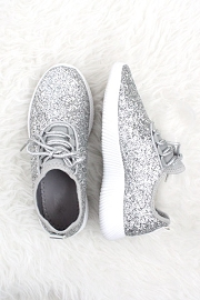 Lace Up Glitter Bomb Sneakers Shoes-Silver - (LIMITED TIME SALE!)