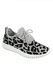 Textured Fly Knit Lace Up Sneakers-Silver Leopard Print