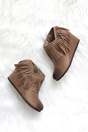 Faux Suede Fringe Ankle Booties with Wedge Heel-Taupe