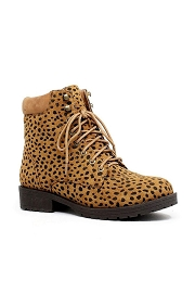 Casual Lace Up Combat Boots-Cheetah Leopard Print