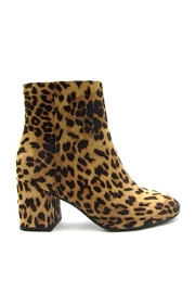 Block Heel Animal Print Closed Toe Booties-Leopard Print