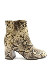 Block Heel Animal Print Closed Toe Booties-Python Snake Print