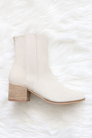Faux Suede Tall Chelsea Boots with Wooden Heel-Light taupe