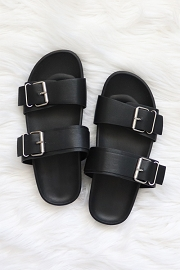 Cute Double Strap Buckle Sandals-Black