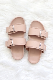 Cute Double Strap Buckle Sandals-Blush Pink