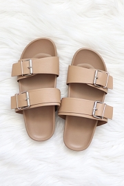 Cute Double Strap Buckle Sandals-Camel Brown