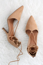 FLASH DEAL: Faux Suede Pointy Toe Lace Up Strappy Heels-Camel Brown