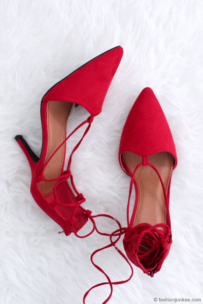 e20d0db45cb FLASH DEAL: Faux Suede Pointy Toe Lace Up Strappy Heels-Red