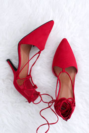 FLASH DEAL: Faux Suede Pointy Toe Lace Up Strappy Heels-Red
