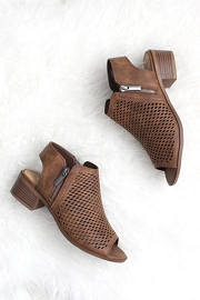 Open Peep Toe Comfortable Low Heel Perforated Ankle Booties-Brown