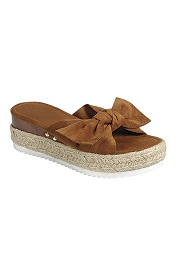 Platform Animal Print Faux Suede Bow Espadrille Sandals-Tan Brown