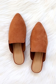 Faux Suede Pointy Toe Closed Toe Mules Slides-Brown