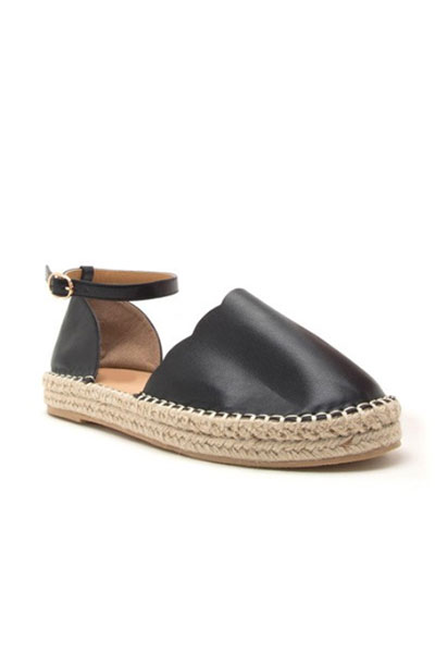 512c533aa02 Scallop Closed Toe Espadrille Low Platform Flats Sandals with Ankle  Strap-Black