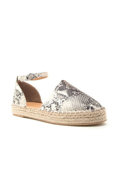2a8fd961abc Scallop Closed Toe Espadrille Low Platform Flats Sandals with Ankle  Strap-Python Snake Print