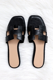Croc Texture H Band Cutout Sandals Slides-Black