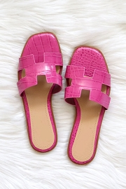 Croc Texture H Band Cutout Sandals Slides-Fuschia Pink