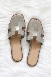 Croc Texture H Band Cutout Sandals Slides-Grey