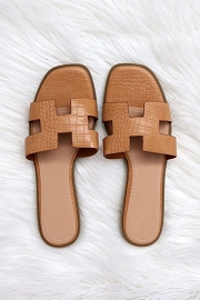 Croc Texture H Band Cutout Sandals Slides-Tan Brown