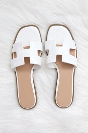 Croc Texture H Band Cutout Sandals Slides-White