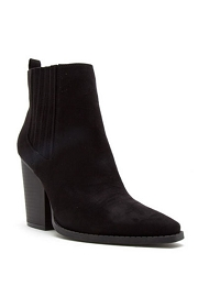 Faux Suede Pointy Toe Closed Toe Block Heel Ankle Booties-Black
