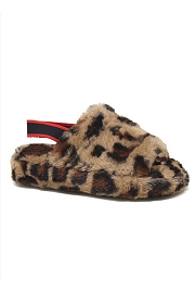 DOOR BUSTER: Cozy Open Toe Slingback Fur Sandals Slides-Leopard Print