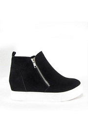 Casual Zipper High Top Sneaker Wedge-Black