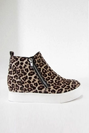 Casual Zipper High Top Sneaker Wedge-Cheetah Leopard Print