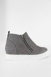 Casual Zipper High Top Sneaker Wedge-Grey