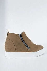 Casual Zipper High Top Sneaker Wedge-Taupe