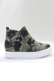 Casual Zipper High Top Sneaker Wedge-Camoflauge Print