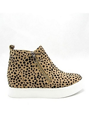 Casual Zipper High Top Sneaker Wedge-Leopard Print